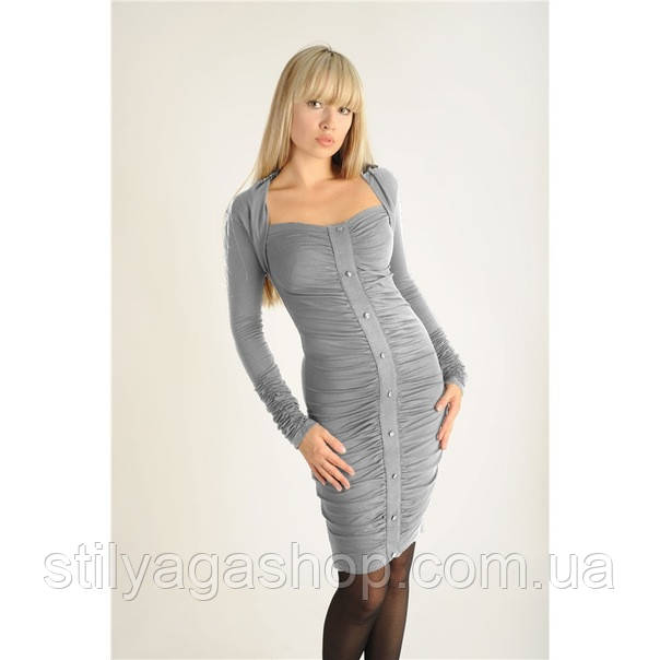 46-48/ Элегантное  трикотажное платье со сборками серое весна