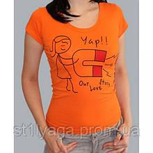 """Парная футболка """"Love Story"""" женская в оранжевом цвете"""