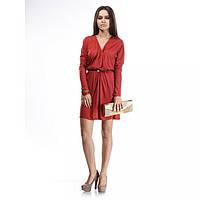 Платье светло-коричневое терракотовое с ремешком