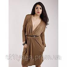 Платье светло-коричневое ,терракотовое с ремешком