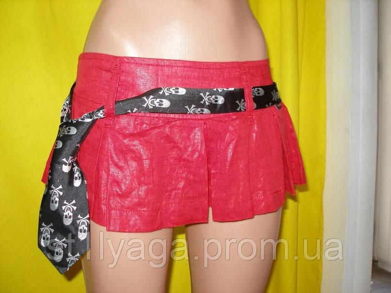 М/44-46  Красные юбка-шорты из льна с поясом