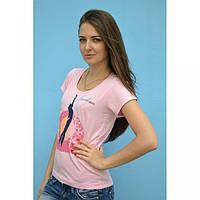 Женская футболка с принтом и надписью Freedom розовая, фото 1