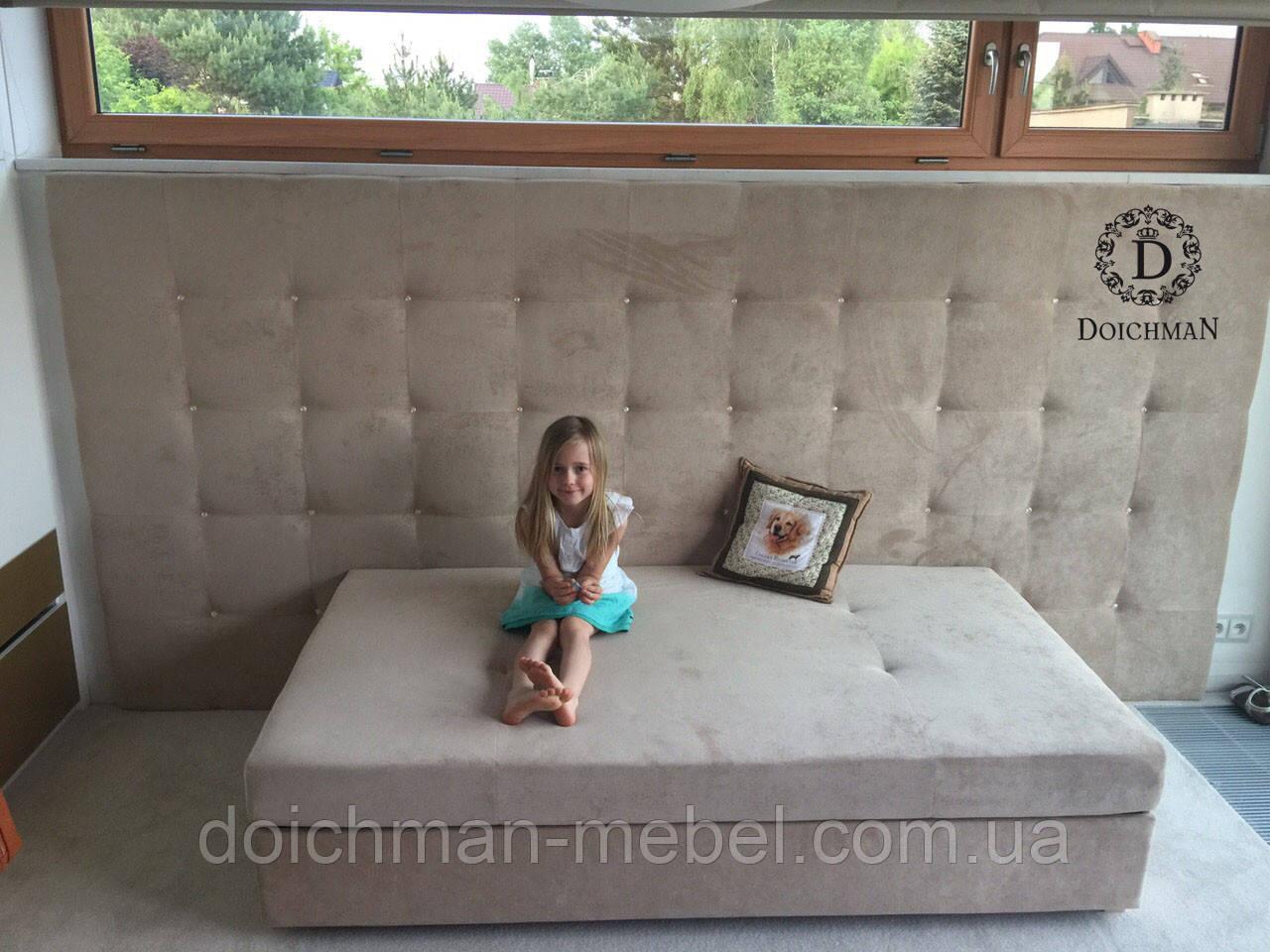 """Кровать для девочки """"Элиза"""" с мягкой панелью и стразами Swarovski"""