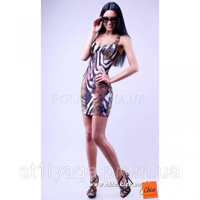 S/42 Облегающее мини платье анималистической расцветки SALE!