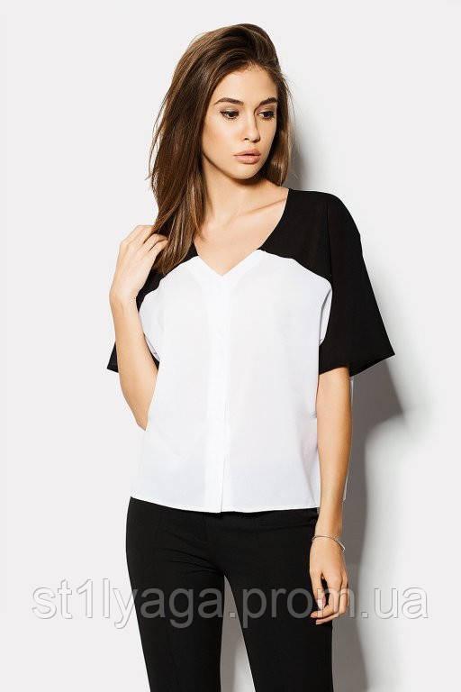 """Блузка жіноча """"VERMONT"""" біла з чорним ЛІТО"""