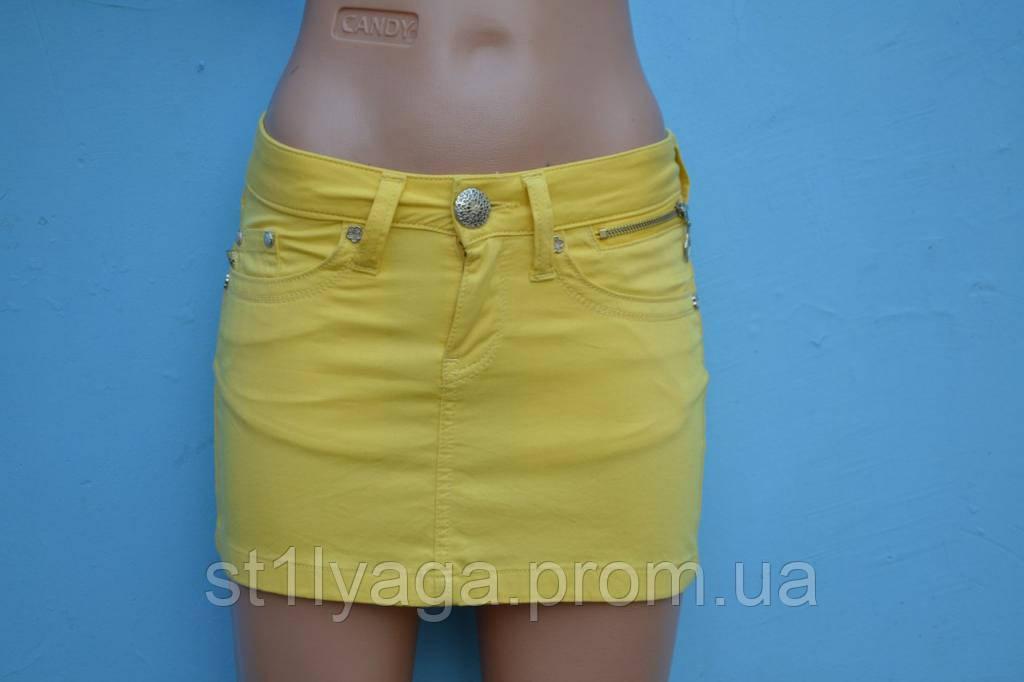 Коттоновая желтая мини-юбка лето