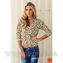 S/М Кофта трикотажная Леопард на застежке