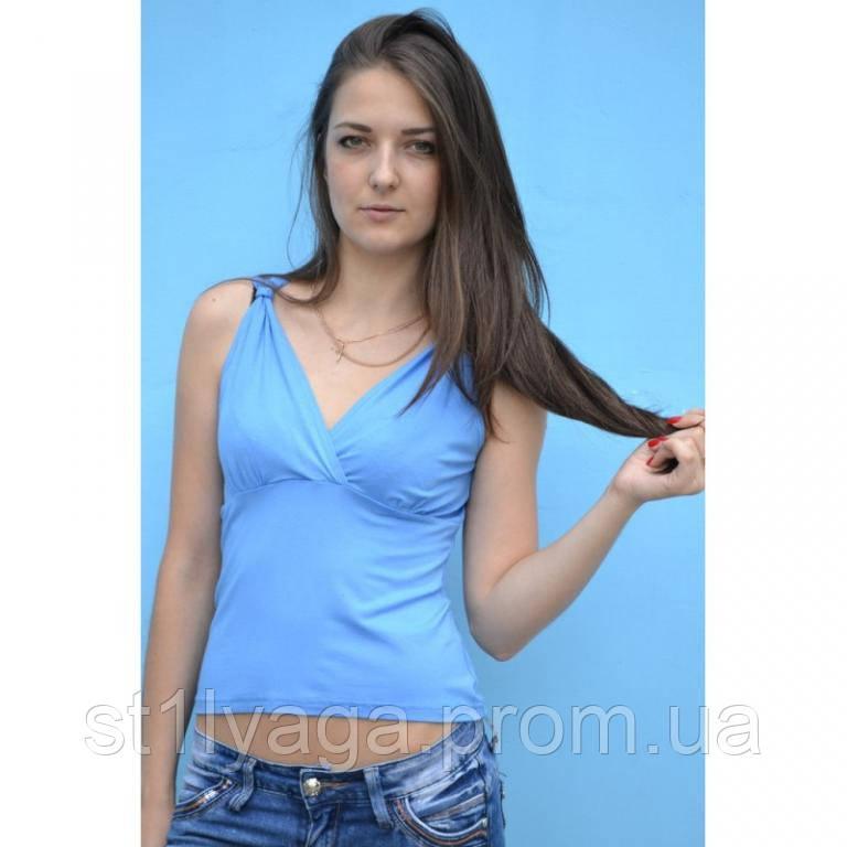 Футболка- майка на запах, голубая лето РАСПРОДАЖА!