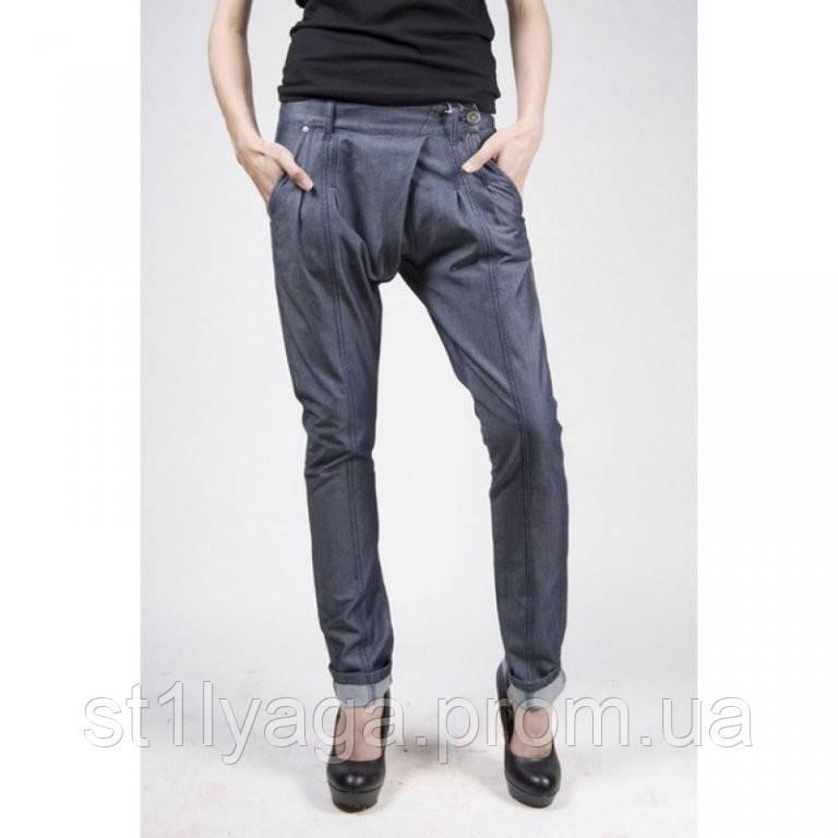 Хлопковые брюки Technology синий джинс лето