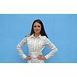 46/М Нарядна блузка з рюшів молочного кольору довгий рукав, фото 2