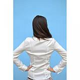 46/М Нарядная блуза с рюшей молочного цвета длинный рукав, фото 3