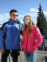 Лыжная куртка Jack Wolfskin синяя мембрана прорезиненные замки ветрозащитная водоотталкивающая