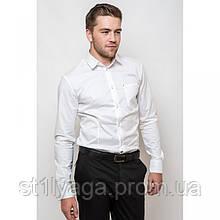 Стильная приталенная мужская рубашка белая длинный рукав