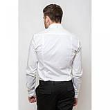 Стильная приталенная мужская рубашка белая длинный рукав, фото 3