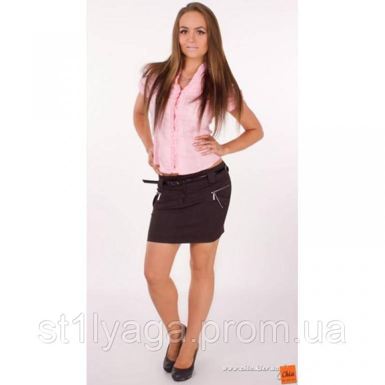 Мини юбка черная с карманами и ремешком в комплекте