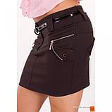Мини юбка черная с карманами и ремешком в комплекте, фото 3