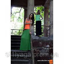 Плиссированная длинная юбка сочно-зеленого цвета