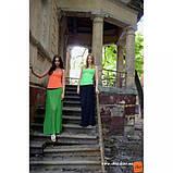 Плиссированная длинная юбка сочно-зеленого цвета, фото 2