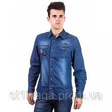 Рубашка мужская темно-синяя длинный рукав джинс