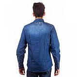 Рубашка мужская темно-синяя длинный рукав джинс, фото 2