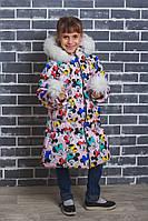 Пальто для девочки зима Микки
