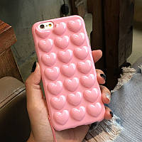 Силиконовый розовый чехол В Сердечко для Iphone 6