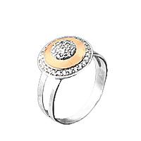 """Серебряное кольцо с золотыми вставками """"Адель"""""""