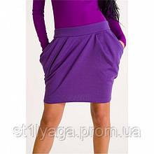 М/L Короткая трикотажная юбка в цвете баклажан SALE!