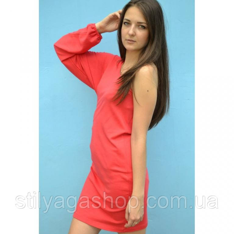 Платье с одним рукавом  красное
