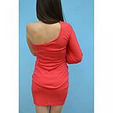 Платье с одним рукавом  красное , фото 2
