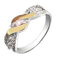 """Серебряное кольцо с золотыми пластинами """"Совершенство"""""""