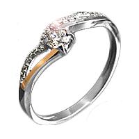 """Серебряное кольцо с золотыми пластинами """"Нежность"""""""