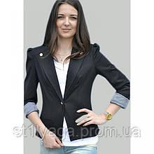 42/S Пиджак черный с  длинным регулируемым  рукавом