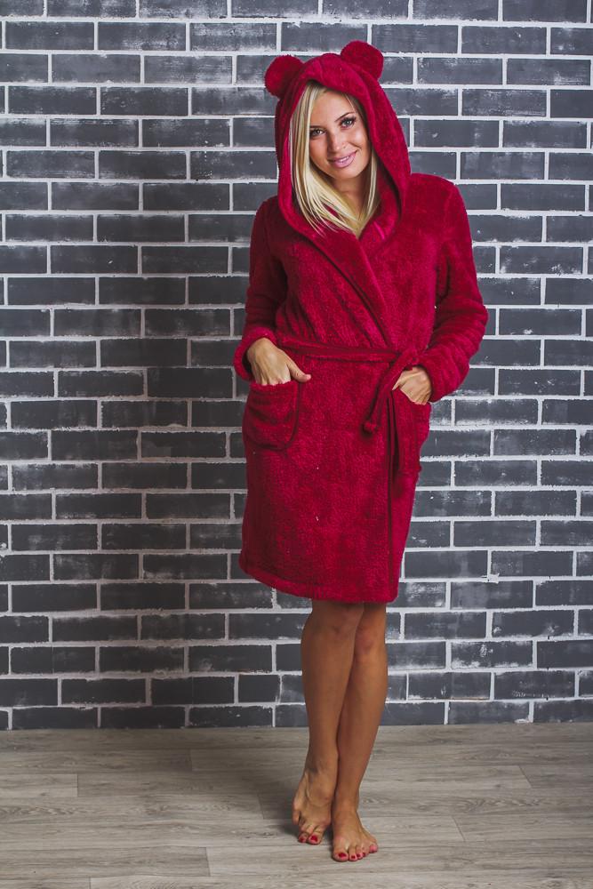 Махровый женский халат с ушками бордо