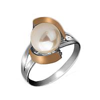 """Серебряное кольцо с золотом """"Утонченность"""""""