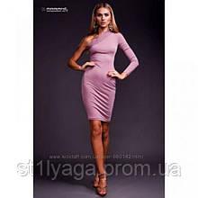 S/42 Трикотажное  платье с одним рукавом лиловый
