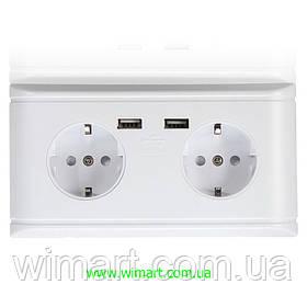 Электрическая розетка 2 USB + 2 евро розетки.