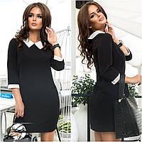 Женское прямокройное короткое платье мини с воротничком