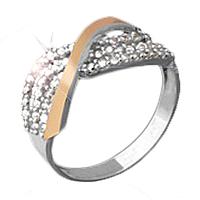 """Серебряное кольцо с золотой пластиной и фианитами """"Северное сияние"""""""