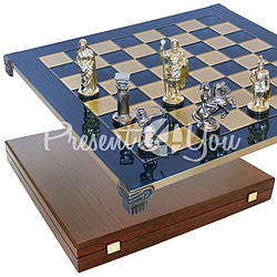 Шахматы «Римляне», синие, 44х44 см.