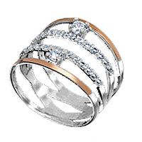 """Серебряное кольцо с золотыми пластинами """"Эксклюзив"""""""
