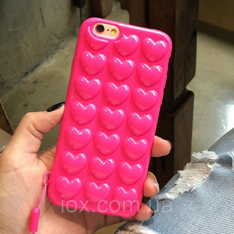 Объемный силиконовый чехол-накладка Сердечки для Iphone 6/6s