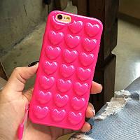 Объемный силиконовый чехол-накладка Сердечки для Iphone 6/6s, фото 1