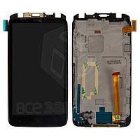 Дисплей для мобильного телефона HTC S728e One X+, черный, с сенсорным экраном, с средней частью корпуса