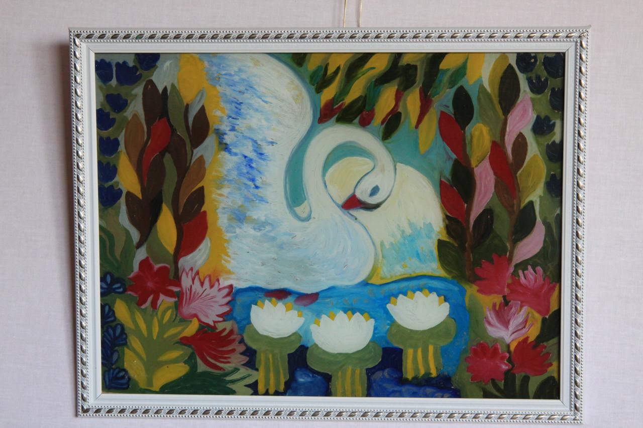 Рисунок на стекле «Лебідь»