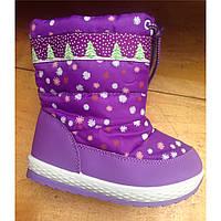 Сапожки дутики для девочки, недорогая детская зимняя обувь р.26-30