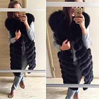 Стильная удлиненная женская жилетка мех натуральный песец, черный цвет