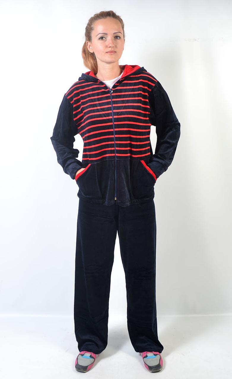 6448d5ca Новинка Женский велюровый спортивный костюм больших размеров с капюшоном -  зебра (красные полосы)