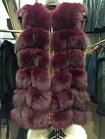 Стильная женская жилетка мех натуральный финский песец, цвет бордовый