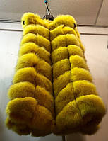 Стильная женская жилетка мех натуральный финский песец, цвет желтый
